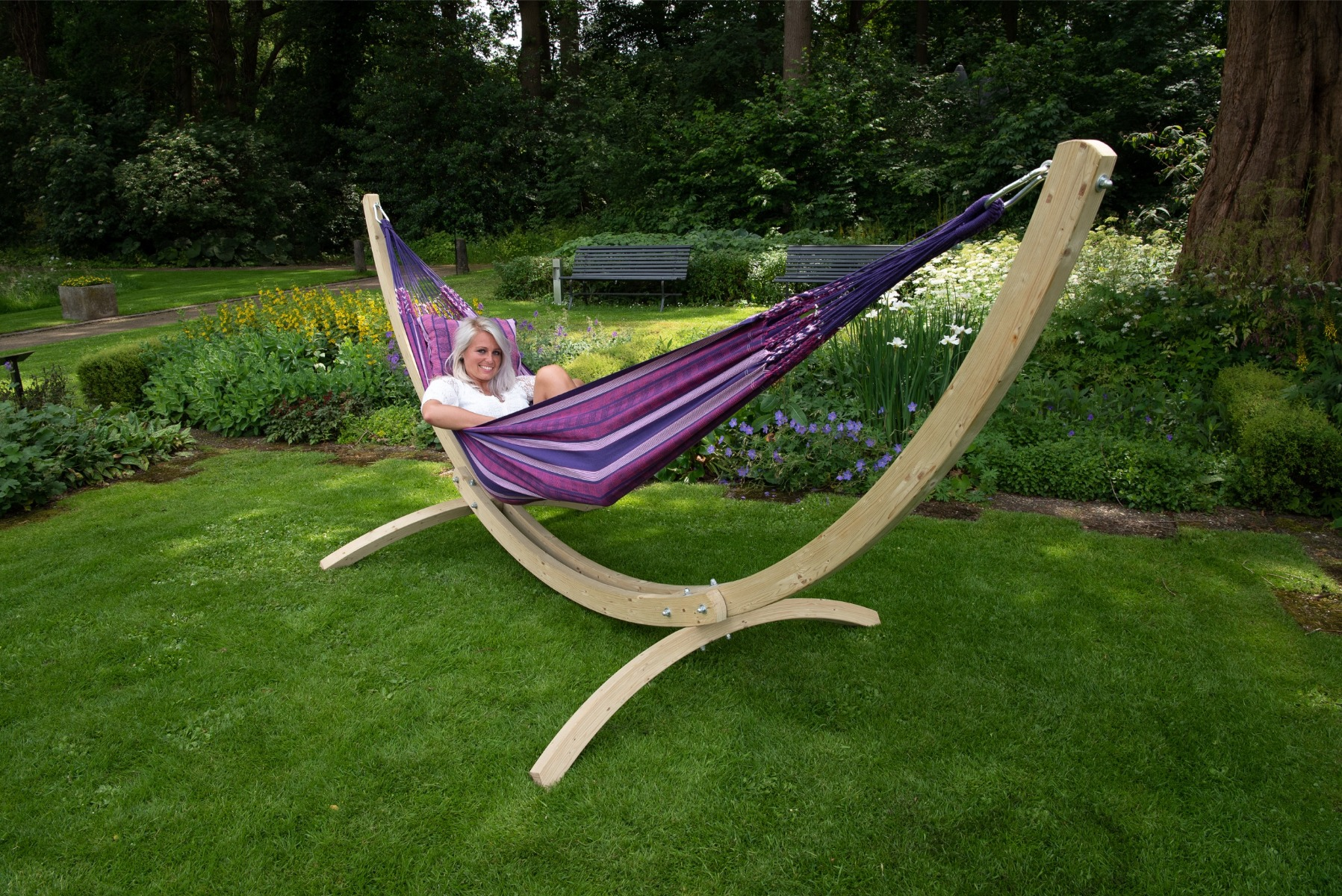 'Wood & Chill' Love Tweepersoons Hangmatset - Paars - Tropilex �