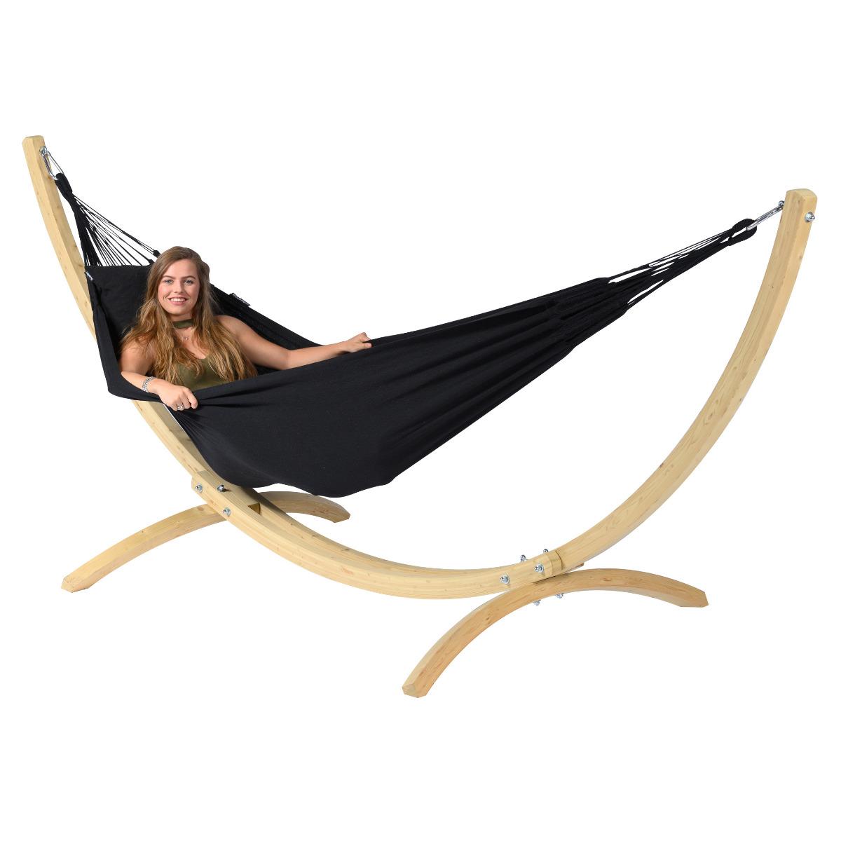 'Wood & Classic' Black E�npersoons Hangmatset - Zwart - Tropilex �