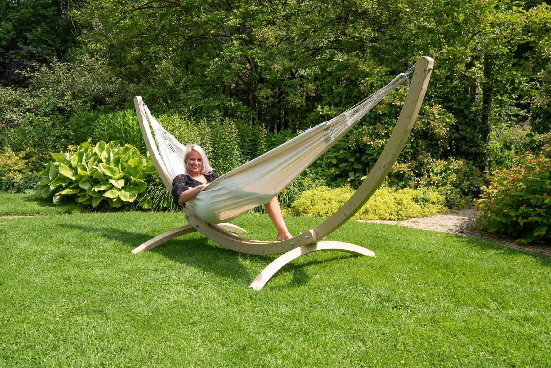 'Wood & Comfort' White Tweepersoons Hangmatset - Wit - Ecru - Tropilex �