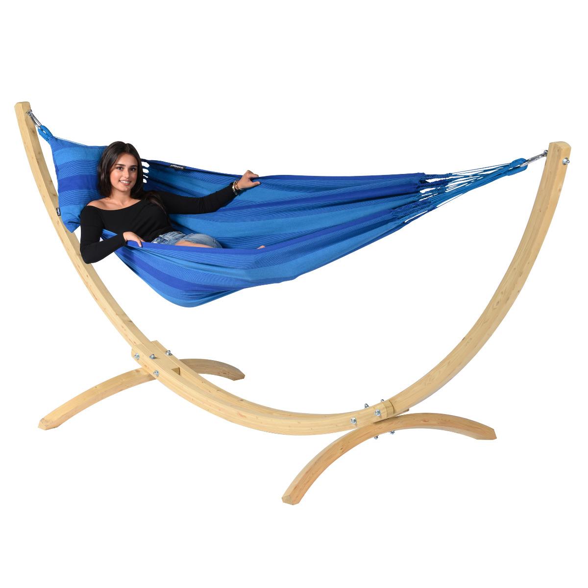 'Wood & Dream' Blue E�npersoons Hangmatset - Blauw - Tropilex �