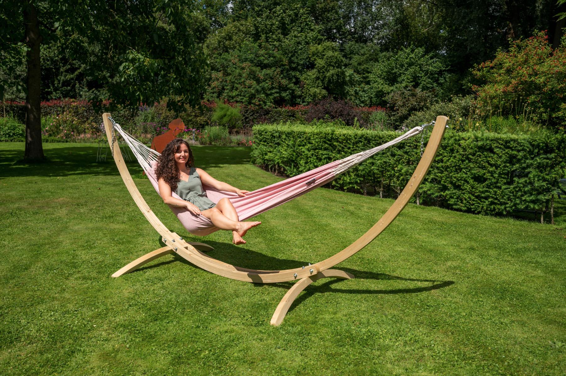 'Wood & Natural' Pink E�npersoons Hangmatset - Roze - Tropilex �