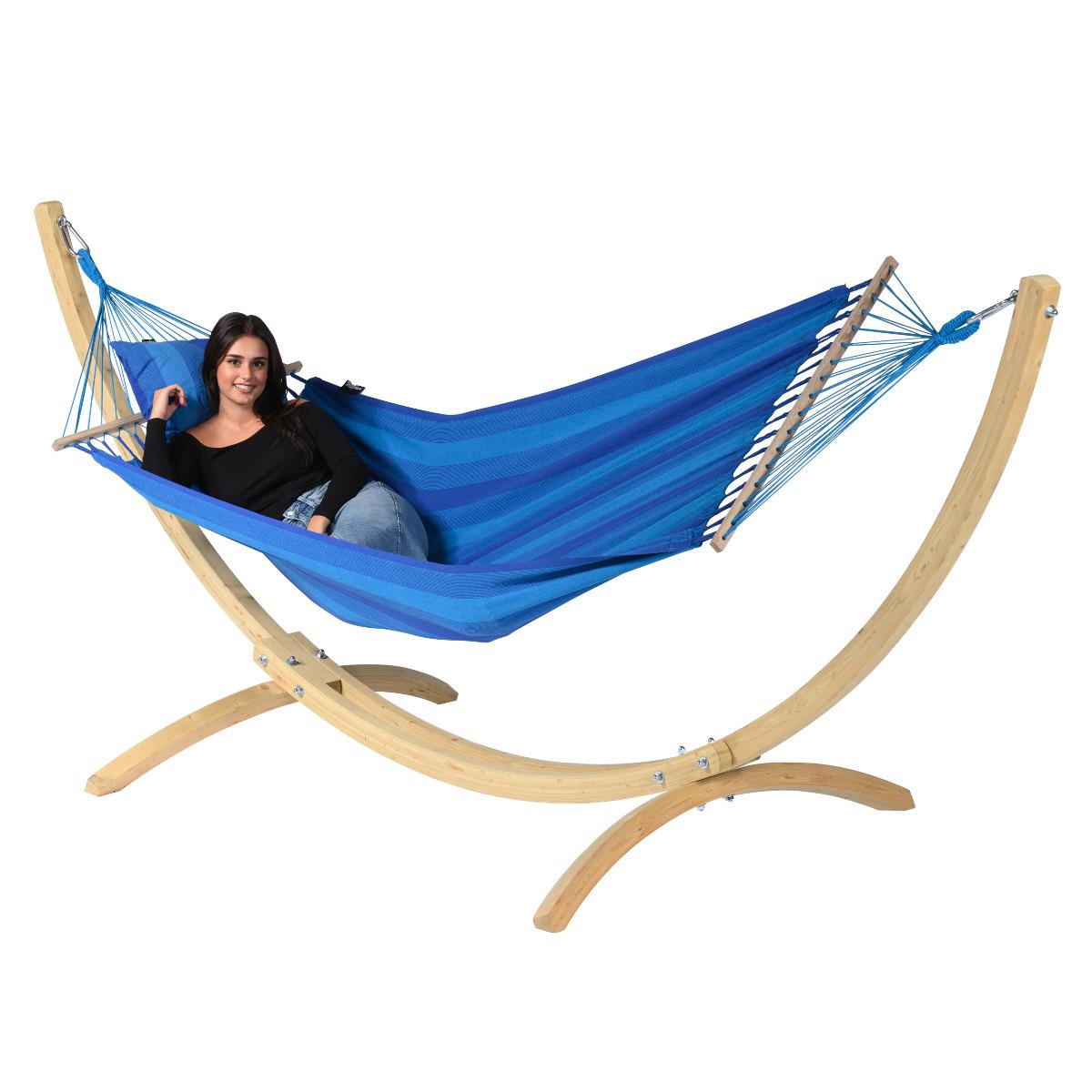'Wood & Relax' Blue E�npersoons Hangmatset - Blauw - Tropilex �