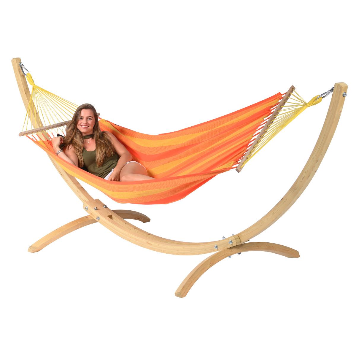 'Wood & Relax' Orange E�npersoons Hangmatset - Oranje - Tropilex �