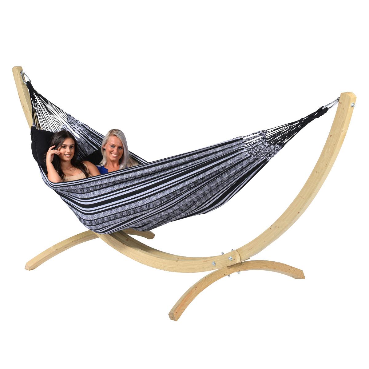 'Comfort' Black White Tweepersoons Hangmat - Zwart - Tropilex �